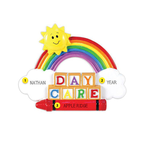 Daycare with Rainbow Sun and Cloud Ornament
