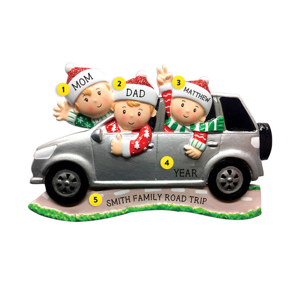 Driving a SUV Family of 3 Ornament for Christmas Tree