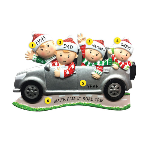 Driving a SUV Family of 4 Ornament for Christmas Tree