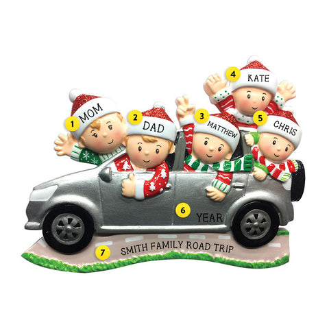Driving a SUV Family of 5 Ornament for Christmas Tree