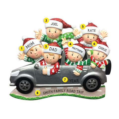Driving a SUV Family of 6 Ornament for Christmas Tree