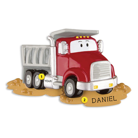 Dump Truck with Face Ornament - Red for Christmas Tree