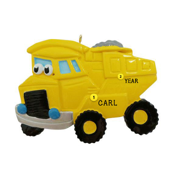 Dump Truck with Face Ornament - Yellow for Christmas Tree