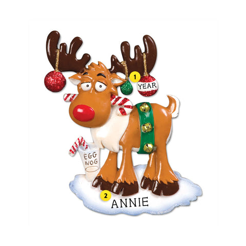 Egg Nog Moose Ornament for Christmas Tree