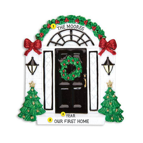Elegant Black Christmas Door Christmas Ornament