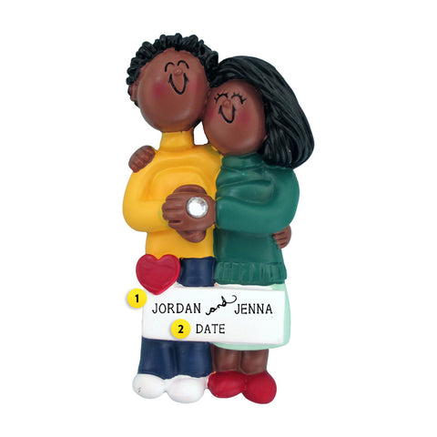 Engaged Couple Ornament - Black Male and Black Female for Christmas Tree
