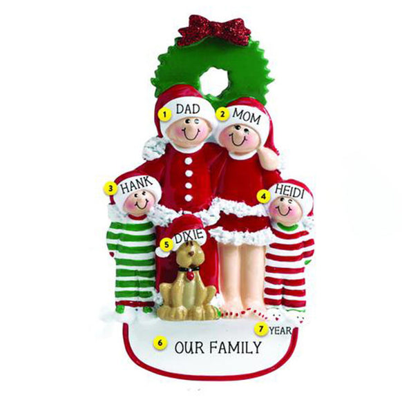 Christmas Family of 4 with Dog Ornament