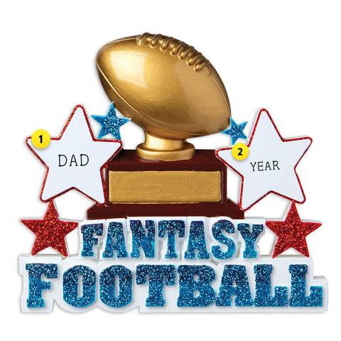 Fantasy Football with Football Trophy resin personalized ornament