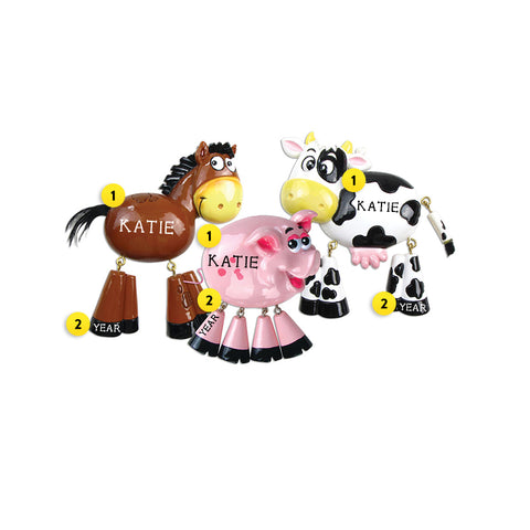 Farm Animals Dangle Legs Ornament