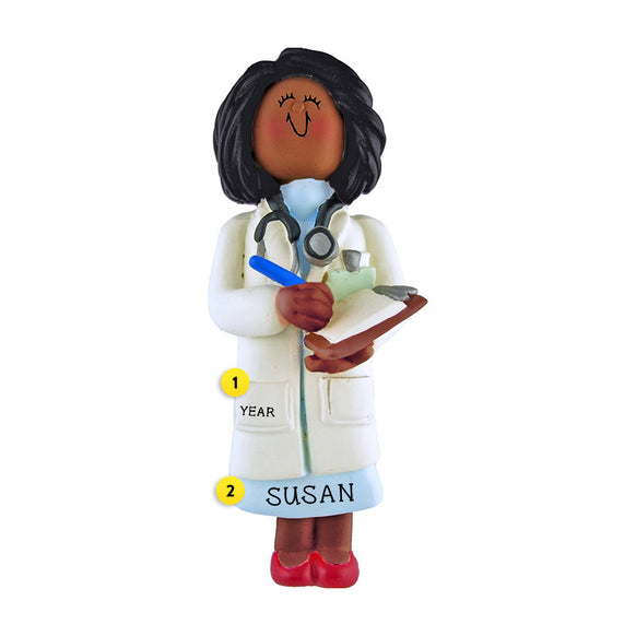 Doctor Ornament - Black Female for Christmas Tree