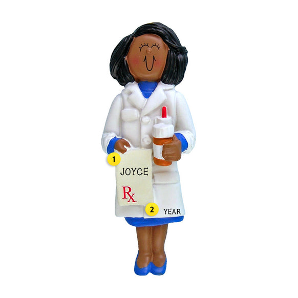 Pharmacist Ornament - Black Female for Christmas Tree