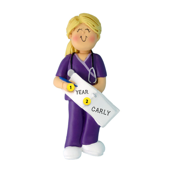Nurse in Scrubs Ornament - White Female, Blond Hair for Christmas Tree
