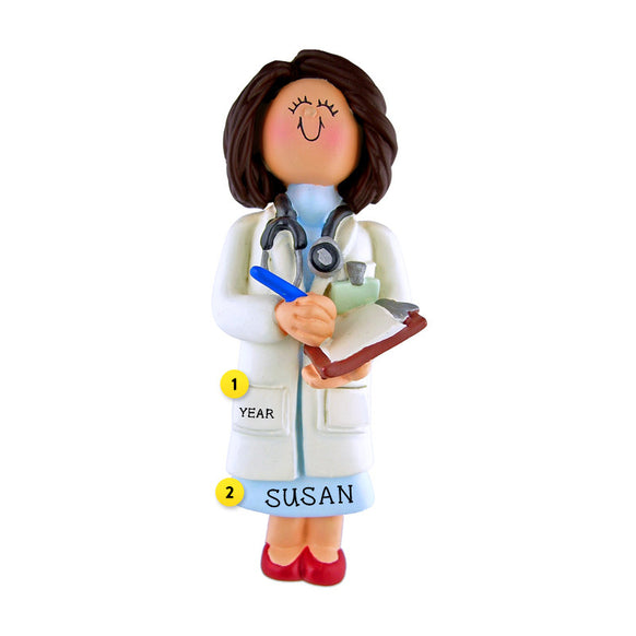 Doctor Ornament - White Female, Brown Hair for Christmas Tree
