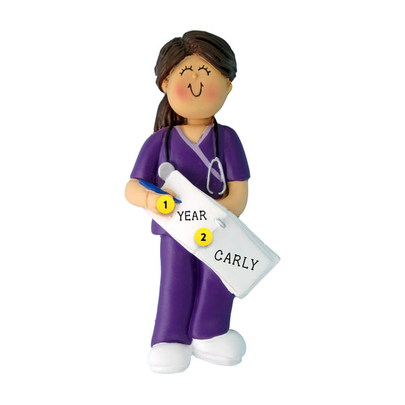 Nurse in Scrubs Ornament - White Female, Brown Hair for Christmas Tree