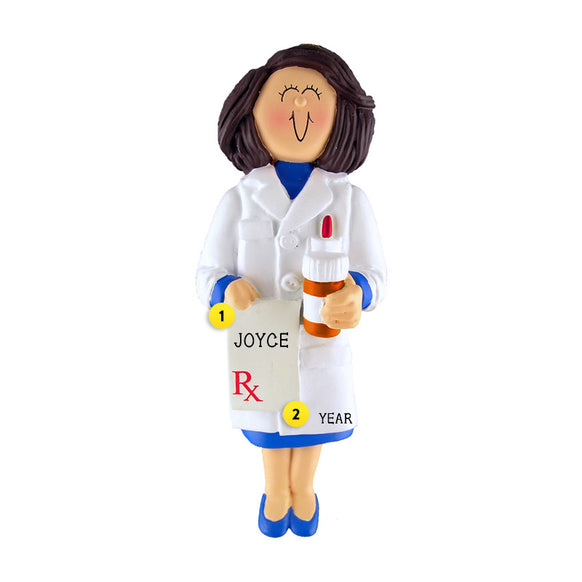 Pharmacist Ornament - White Female, Brown Hair for Christmas Tree