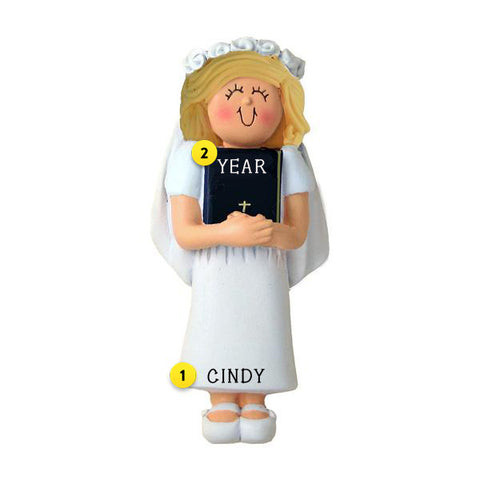 First Communion Ornament - Female, Blond Hair for Christmas Tree