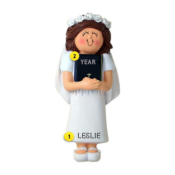 First Communion Ornament - Female, Brown Hair for Christmas Tree