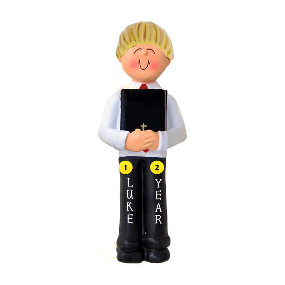 First Communion Ornament - Male, Blond Hair