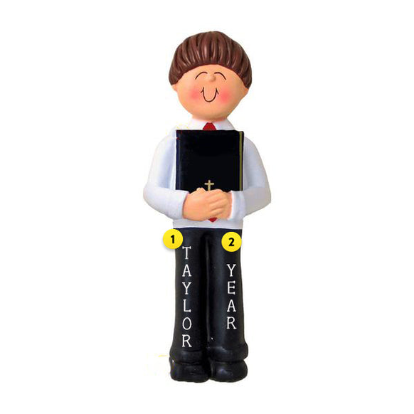 First Communion Ornament - Male, Brown Hair