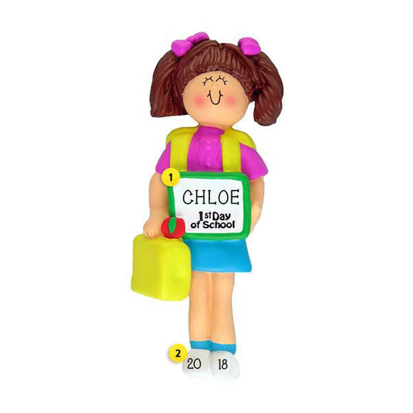 1st Day of School Ornament - White Female, Brown Hair for Christmas Tree