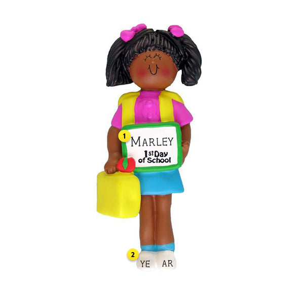 1st Day of School Ornament - Black Female for Christmas Tree
