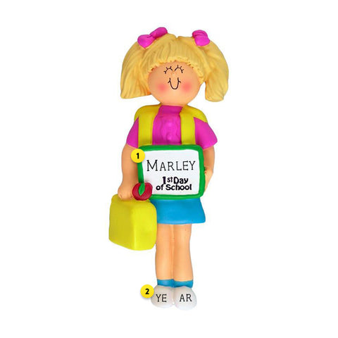 1st Day of School Ornament - White Female, Blond Hair for Christmas Tree