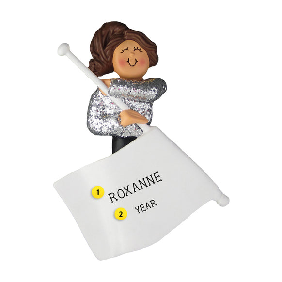 Flag Twirler Ornament - Female, Brown Hair for Christmas Tree