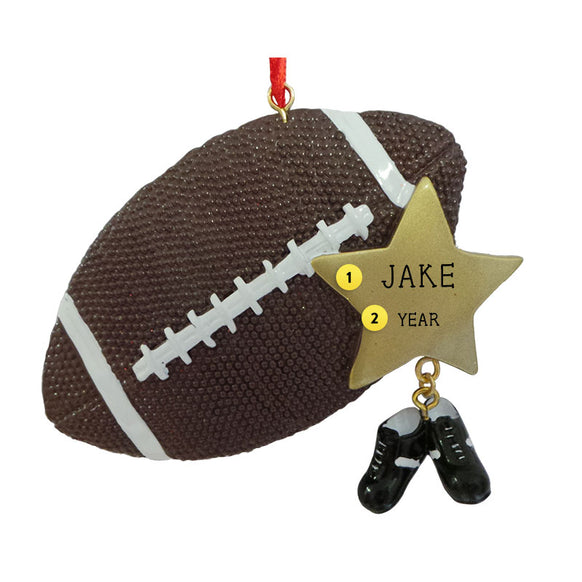 Football Ball with Star Ornament for Christmas Tree