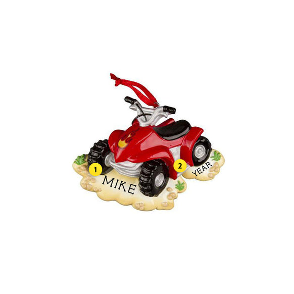 Four Wheeler Ornament - Red