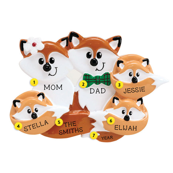 Fox Family of 5 Ornament For Christmas Tree