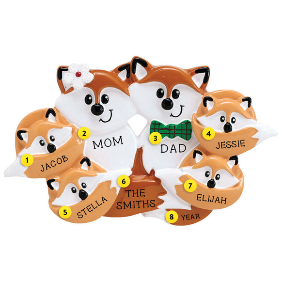 Fox Family of 6 Ornament