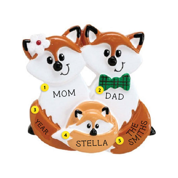 Fox Family of 3 Ornament For Christmas Tree