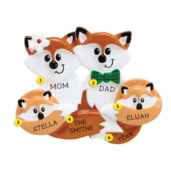 Fox Family of 4 Ornament