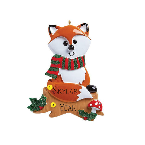Fox ornament can be personalized for your Christmas tree
