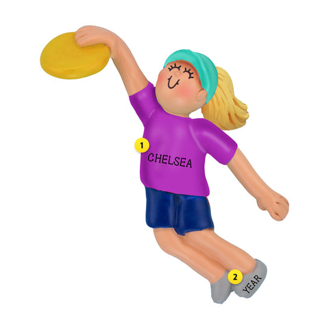 Frisbee Ornament - Female, Blond Hair for Christmas Tree