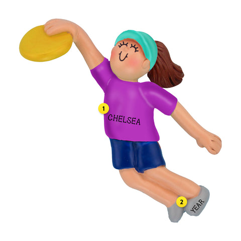 Frisbee Ornament - Female, Brown Hair for Christmas Tree