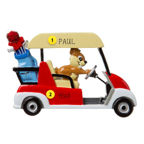 Personalized Golf Cart With Gopher Driving It Ornament For Your Tree