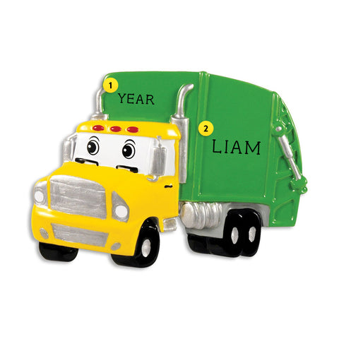 Garbage Truck with Face Ornament for Christmas Tree