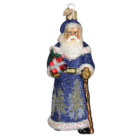 Glistening Midnight Santa Ornament for Christmas Tree