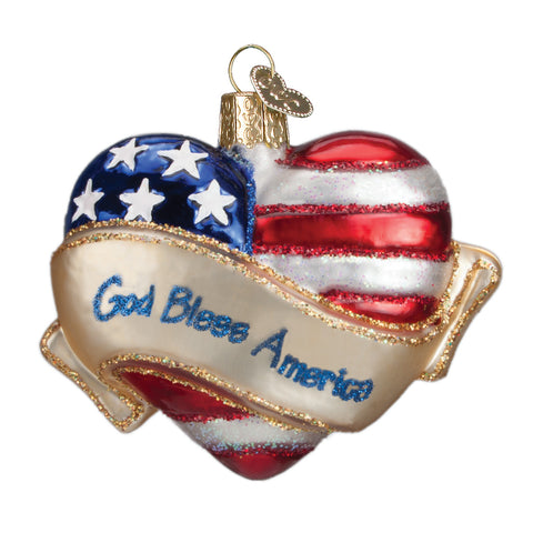 God Bless America Heart Ornament for Christmas Tree