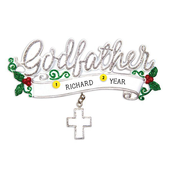 Godfather Cross Ornament for Christmas Tree