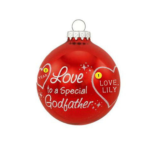 Love to a Special Godfather red glass bulb ornament