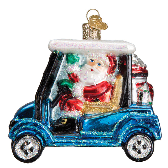 golf cart santa ornament for christmas tree