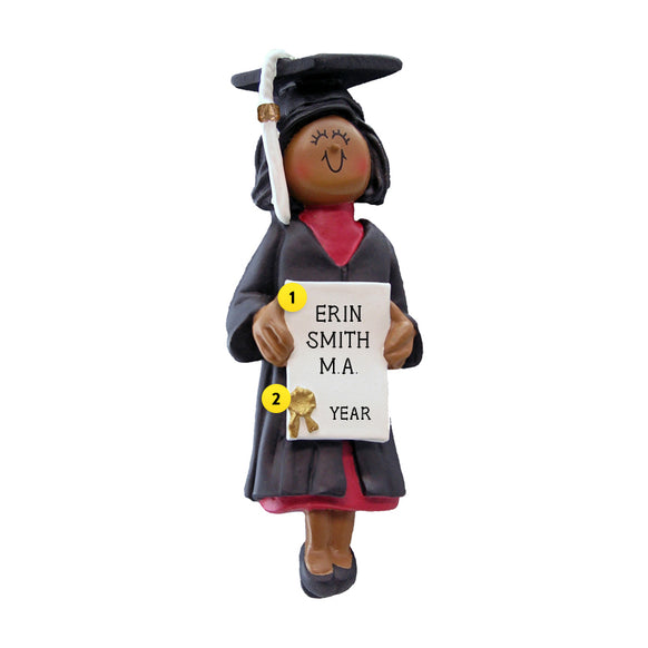 Graduate Ornament - Black Female for Christmas Tree