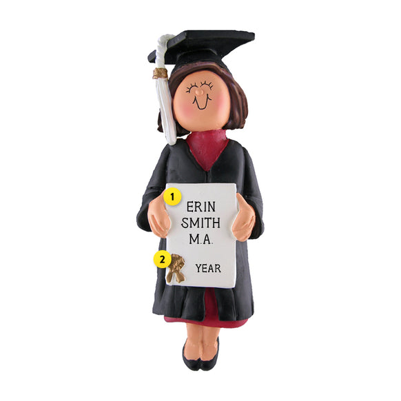 Graduate Ornament - White Female, Brown Hair for Christmas Tree