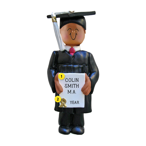 Graduate Ornament - Black Male for Christmas Tree