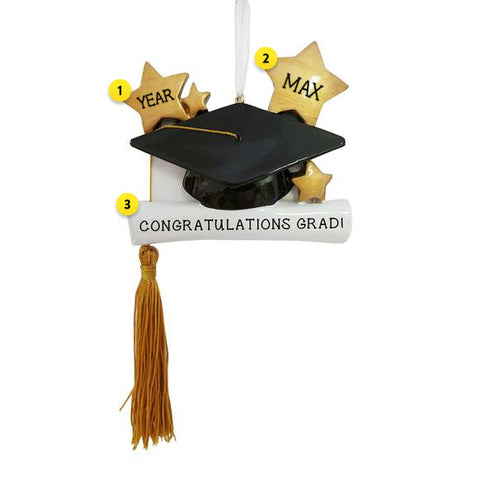 Graduation Cap and Diploma with Gold Tassel Ornament for Christmas Tree