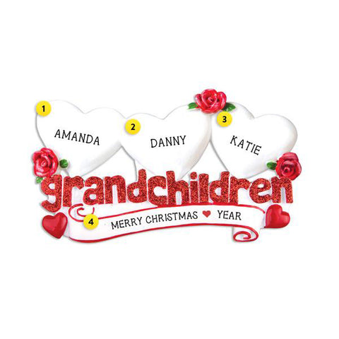 Grandchildren with 3 Hearts Table Top Decoration