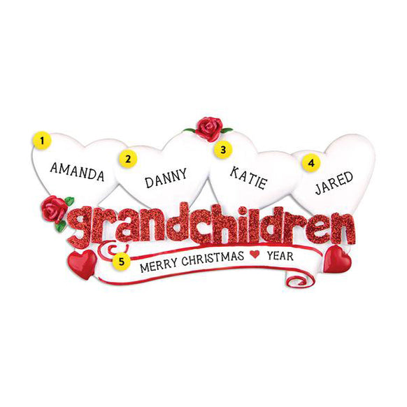 Grandchildren Ornament with 4 Hearts for Christmas Tree