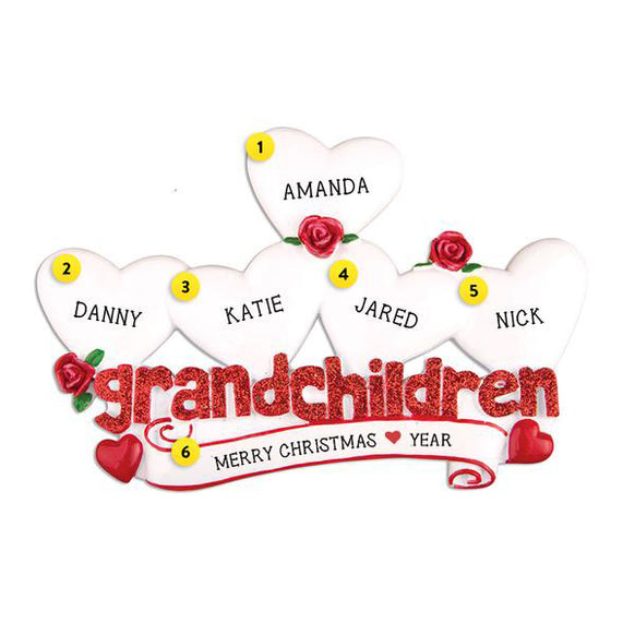 Grandchildren Ornament with 5 Hearts for Christmas Tree
